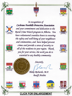 MP Blake Richards presented a certificate in recognition of the Association's commitment and dedication to the Rural Crime Watch program in Alberta.